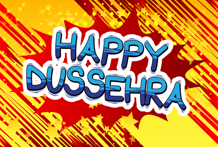 Happy Dussehra. Vector Illustration for the Hindu festival, with retro style comic book background. Vector Illustration