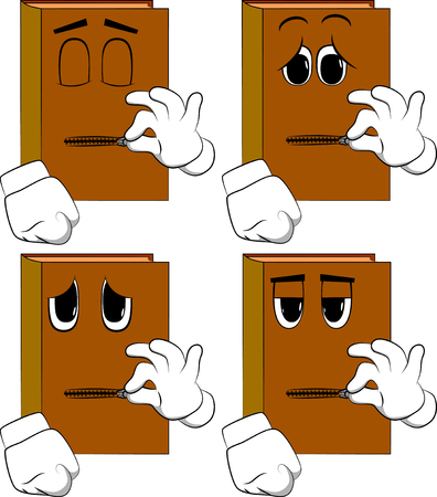 Books zipping his mouth. Cartoon book collection with sad faces. Expressions vector set.