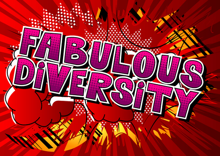 Fabulous Diversity - Comic book style word on abstract background. 向量圖像