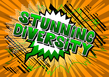 Stunning Diversity - Comic book style word on abstract background. Çizim