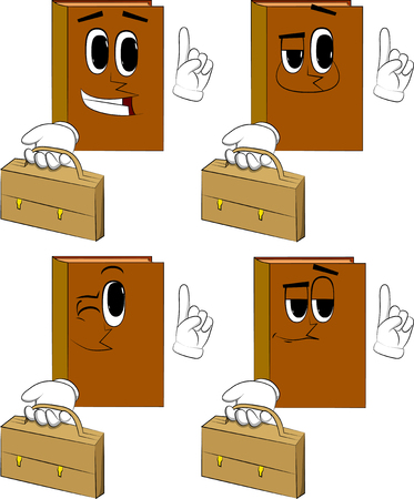 Books holding suitcase and making a point. Cartoon book collection with happy faces. Expressions vector set.
