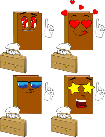 Books holding suitcase and making a point. Cartoon book collection with various faces. Expressions vector set. Ilustração