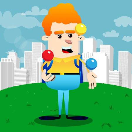 Schoolboy juggler. Vector cartoon character illustration. Standard-Bild - 105414806