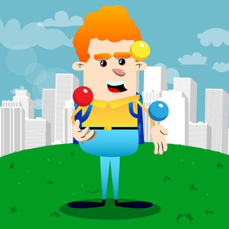 Schoolboy juggler. Vector cartoon character illustration. Illustration