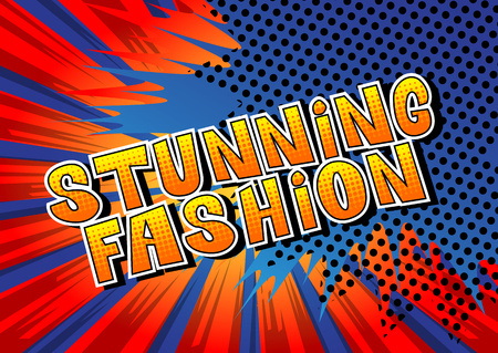 Stunning Fashion - Comic book style word on abstract background. Çizim