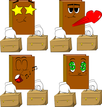 Books with two suitcase. Cartoon book collection with various faces. Expressions vector set. Ilustração