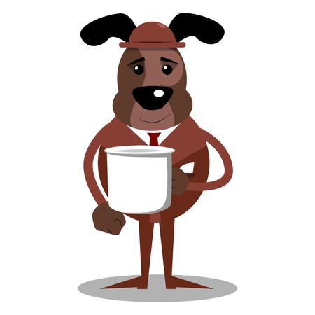 Cartoon illustrated business dog holding big white mug.