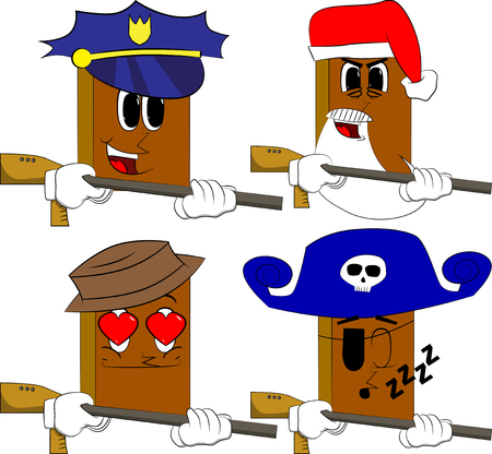 Books with a big gun. Cartoon book collection with costume faces. Expressions vector set.