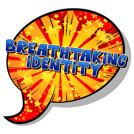 Breathtaking Identity - Comic book style word on abstract background.
