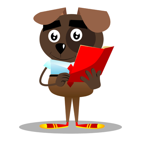 Cartoon vector illustrated business dog reading a red book.