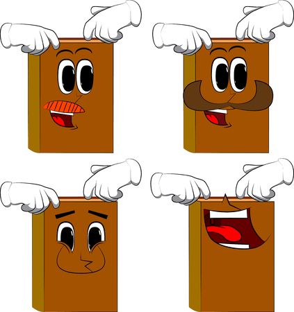 Books scratching his head with two hands. Cartoon book collection with happy faces. Expressions vector set.