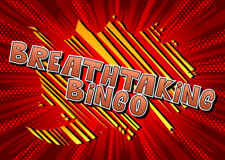 Breathtaking Bingo - Comic book style word on abstract background.