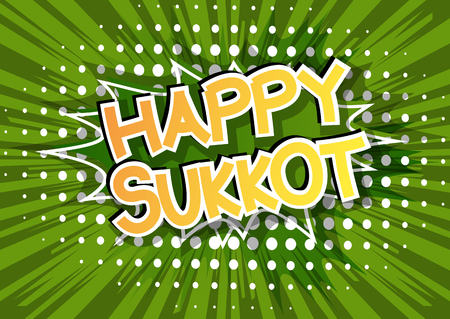 Happy Sukkot - Comic book style word on abstract background for the jewish holiday. Vektorové ilustrace