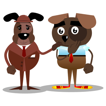 Cartoon vector illustrated business dogs comforting another.