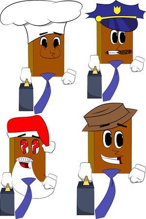 Books boss with suitcase or bag and tie. Cartoon book collection with costume faces. Expressions vector set.