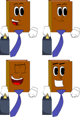 Books boss with suitcase or bag and tie. Cartoon book collection with happy faces. Expressions vector set.