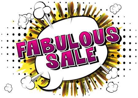Fabulous Sale - Comic book style word on abstract background.