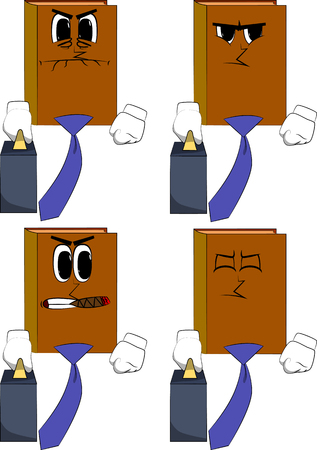 Books boss with suitcase or bag and tie. Cartoon book collection with angry faces. Expressions vector set. Illusztráció
