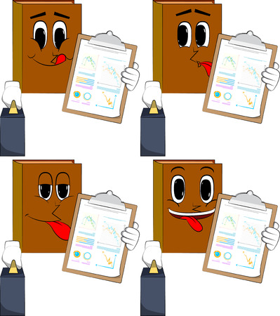 Books boss with suitcase or bag shows finance report. Cartoon book collection with happy faces. Expressions vector set.