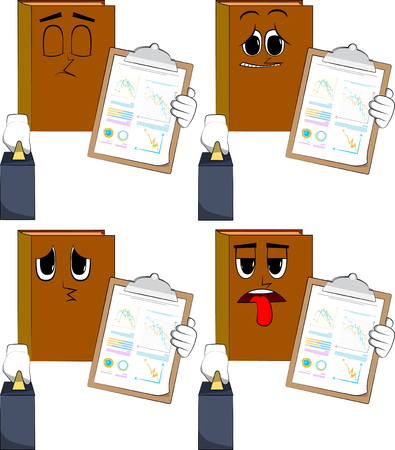 Books boss with suitcase or bag shows finance report. Cartoon book collection with sad faces. Expressions vector set.