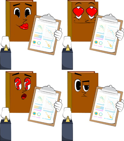 Books boss with suitcase or bag shows finance report. Cartoon book collection with various faces. Expressions vector set.