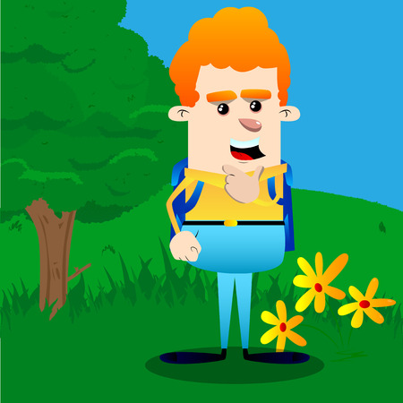 Schoolboy thinking. Vector cartoon character illustration. Vectores