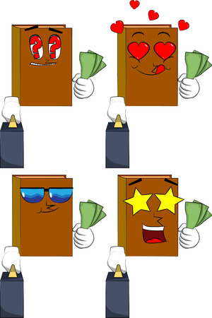 Books boss with suitcase or bag holding or showing money bills. Cartoon book collection with various faces. Expressions vector set.