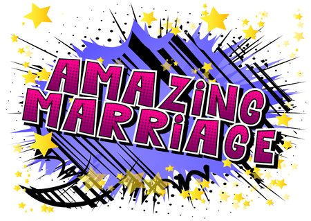 Amazing Marriage - Comic book style word on abstract background. Stockfoto - 106241509