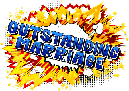 Outstanding Marriage - Comic book style word on abstract background. Stock Illustratie