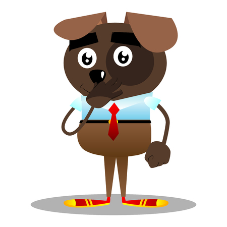 Cartoon illustrated business dog holding his nose because of a bad smell. Illustration
