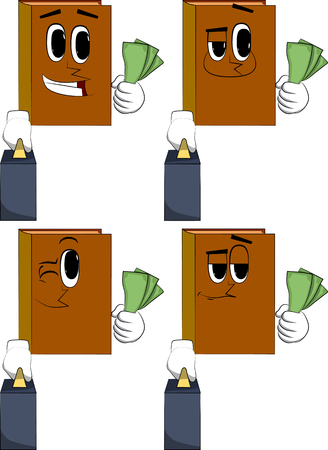 Books boss with suitcase or bag holding or showing money bills. Cartoon book collection with happy faces. Expressions vector set.