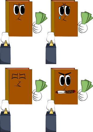 Books boss with suitcase or bag holding or showing money bills. Cartoon book collection with angry and sad faces. Expressions vector set. Иллюстрация