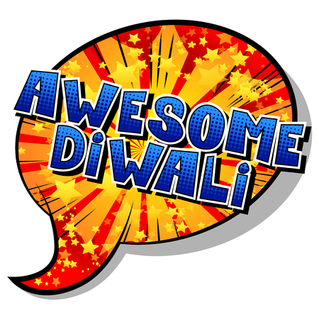 Awesome Diwali - Comic book style word on abstract background. Vetores