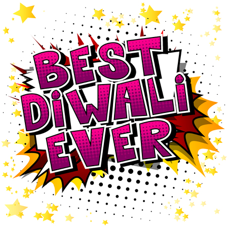 Best Diwali Ever - Comic book style word on abstract background.