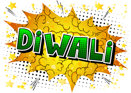 Diwali - Comic book style word on abstract background.