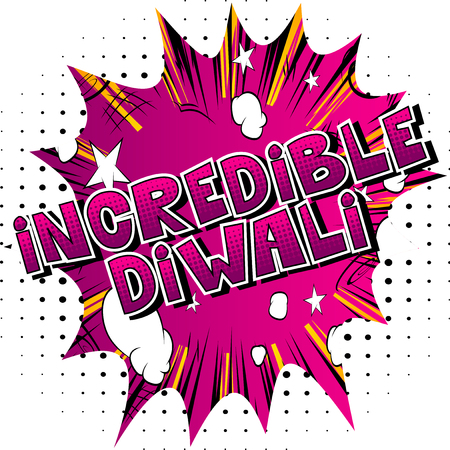 Incredible Diwali - Comic book style word on abstract background.