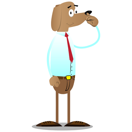 Cartoon vector illustrated business dog with symphaty.