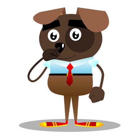 Dessin animé vecteur illustré chien d'affaires avec symphatie