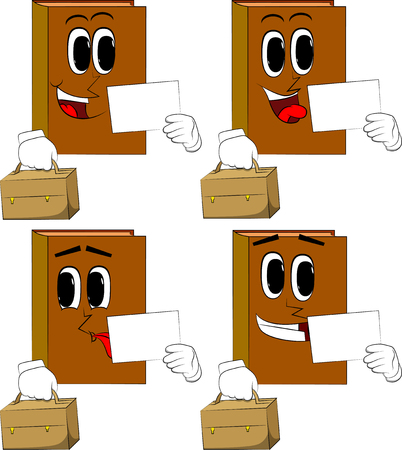 Books with suitcase and white paper. Cartoon book collection with happy faces. Expressions vector set.  イラスト・ベクター素材