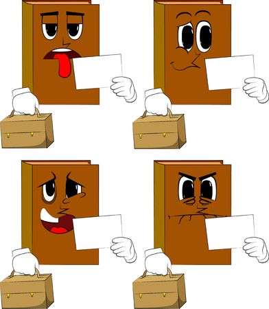 Books with suitcase and white paper. Cartoon book collection with sad, bored and angry faces. Expressions vector set.