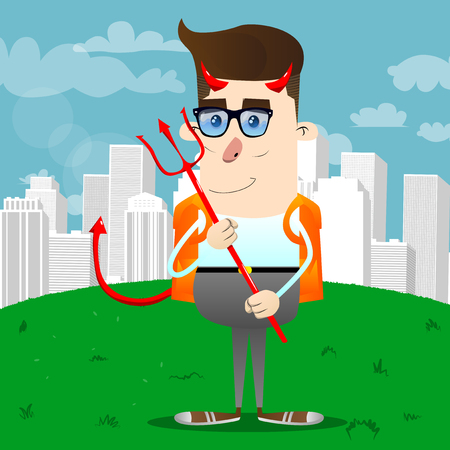 Schoolboy devil with pitchfork. Vector cartoon character illustration.
