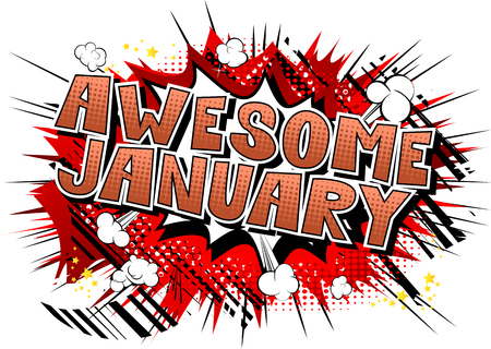 Awesome January - Comic book style word on abstract background. Illusztráció