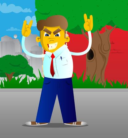 Yellow man with hands in rocker pose. Vector cartoon illustration.