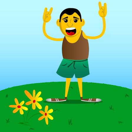 Yellow man with hands in rocker pose. Vector cartoon illustration. Foto de archivo - 106241671
