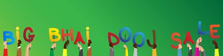 Diverse hands holding letters of the alphabet created the words Big Bhai Dooj Sale. Vector illustration. Reklamní fotografie - 106241680