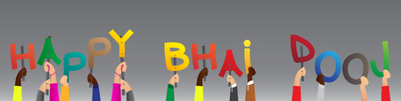 Diverse hands holding letters of the alphabet created the words Happy Bhai Dooj. Vector illustration. Çizim