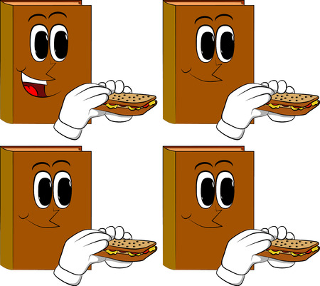Books eating a sandwich. Cartoon book collection with happy faces. Expressions vector set.