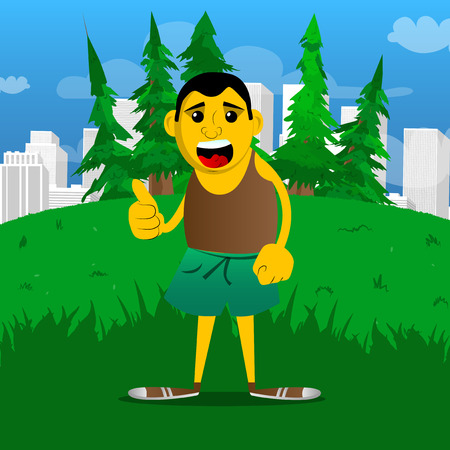 Yellow man making thumbs up sign. Vector cartoon illustration.