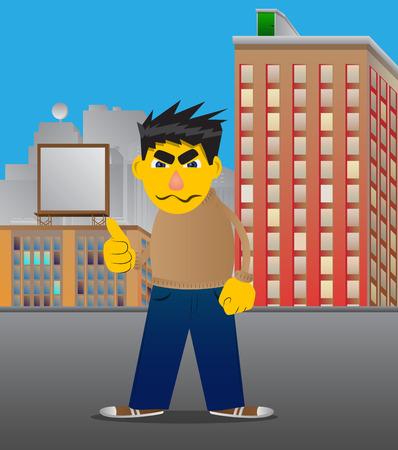 Yellow man making thumbs up sign. Vector cartoon illustration. Ilustración de vector