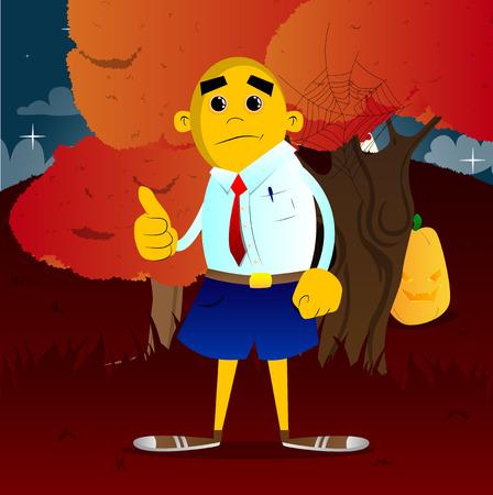 Yellow man making thumbs up sign. Vector cartoon illustration.